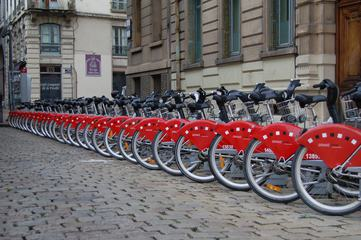 Rental City Bikes in a Row