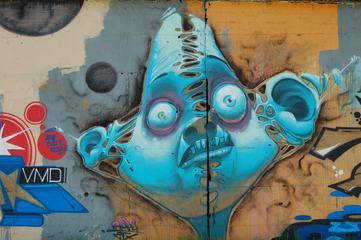 Blue Face Street Art