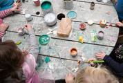 Children Painting Top View