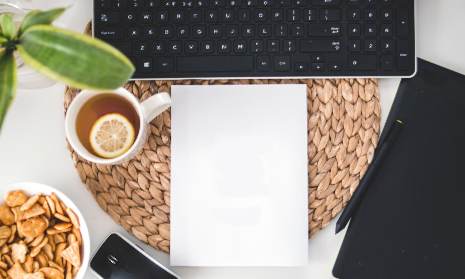Creative Workspace Flat Lay - Blank Page
