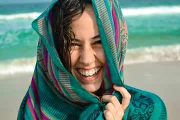 Portrait of a Smiling Girl on the Beach