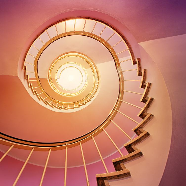 Spiral Staircase with Pink Walls