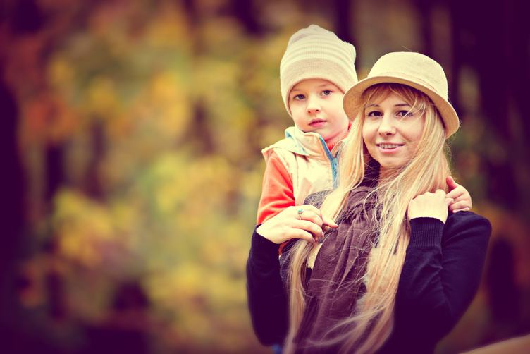 Mother with Son Autumn Portrait