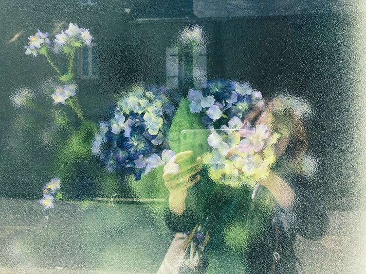 Forget Me Not Flower Glass Reflection Self-Portrait