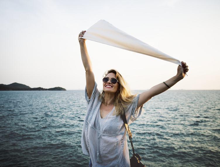 Joyful Woman on the Seashore