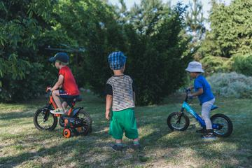 Children with Bikes in the Garden