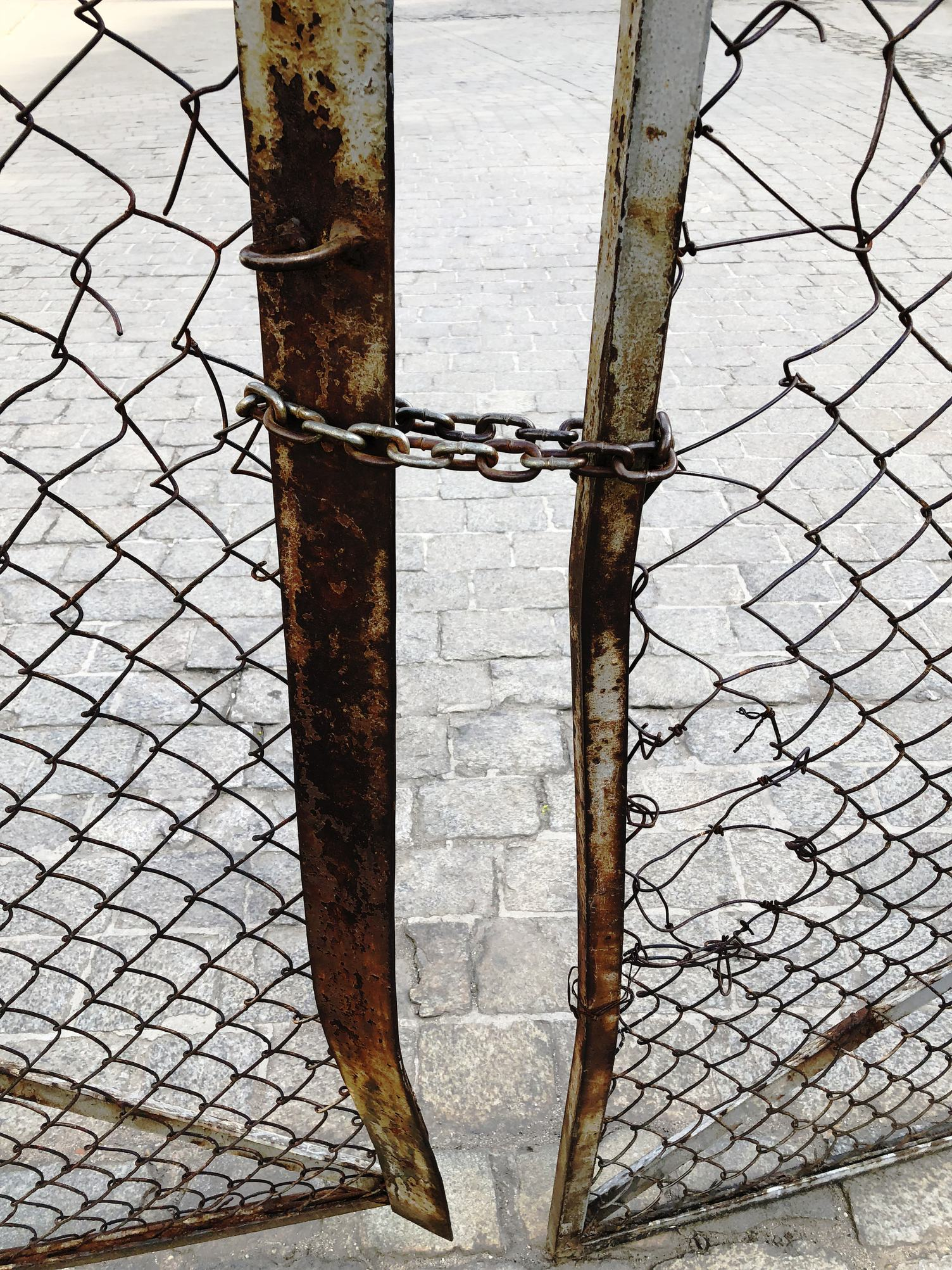 Closed Old Rusty Gate