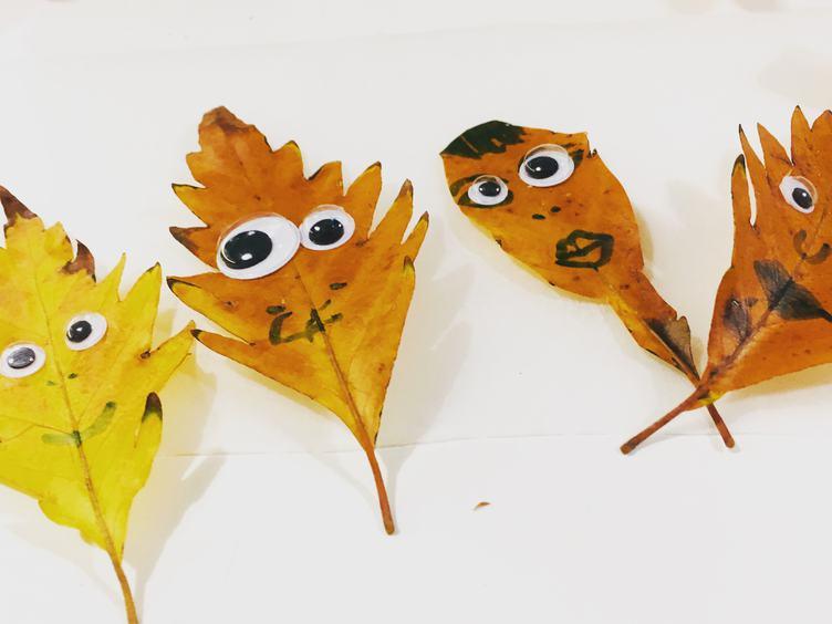 Leaves Faces - Super Easy Crafts for Children