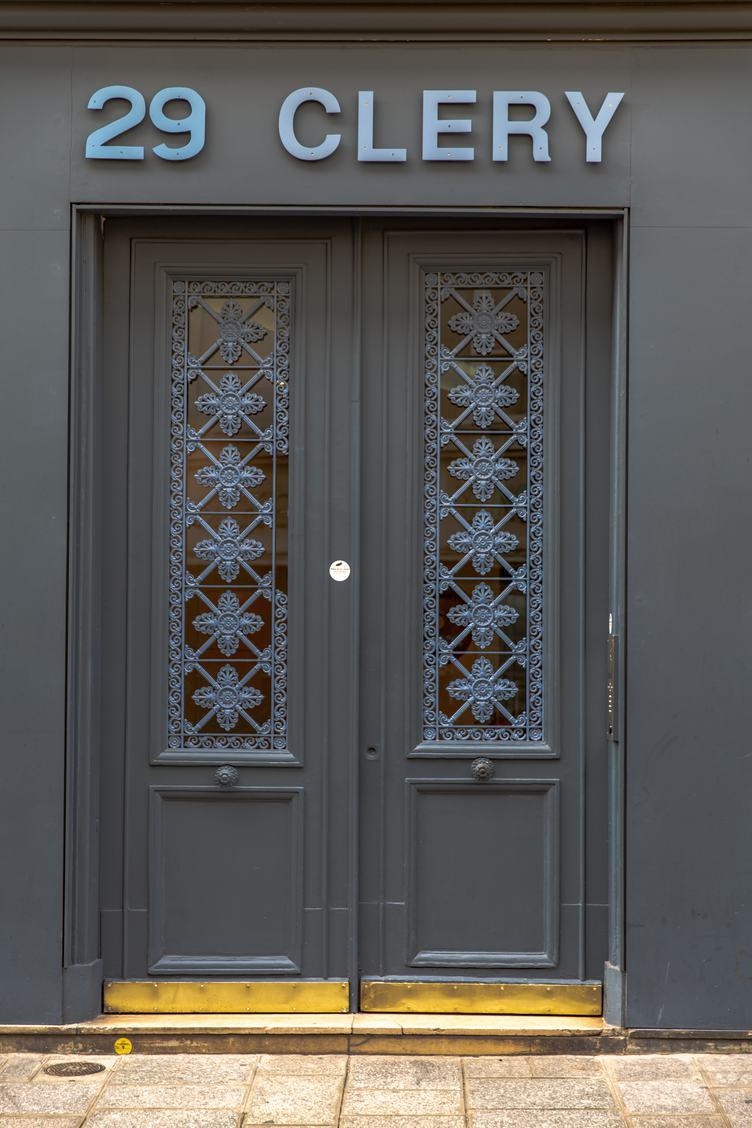 Gray Door with Blue Decor