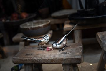 Wooden Birds on a Stool