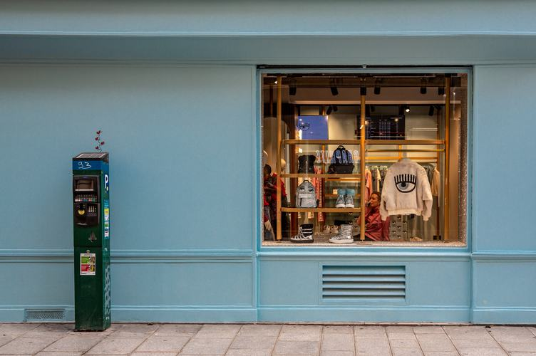 Blue Wall with Shop Exposition