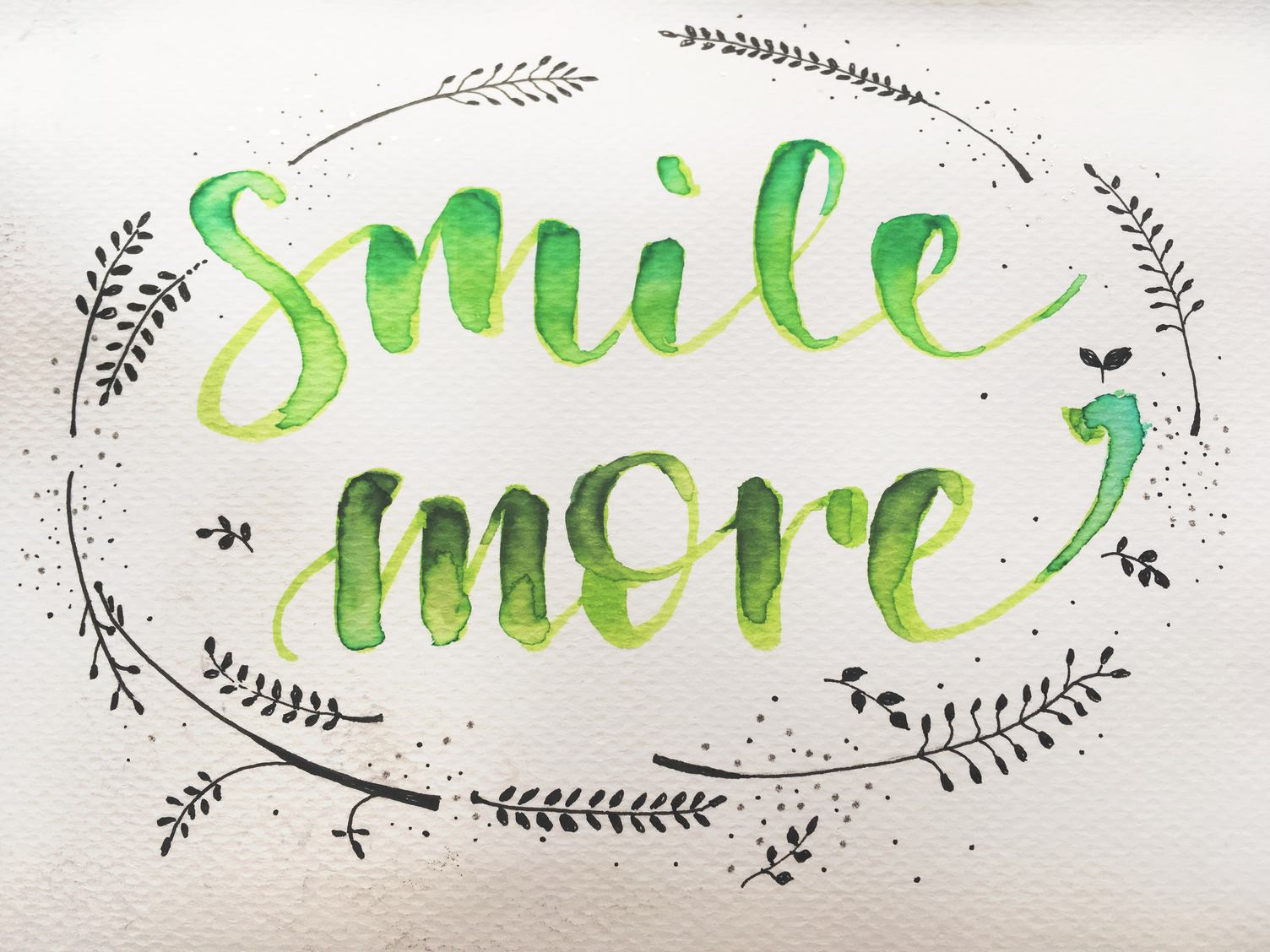 Smile More Calligraphy Inscription