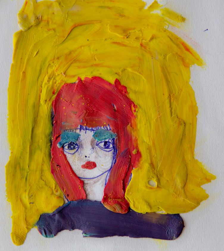 Painted Plasticine Woman Portrait