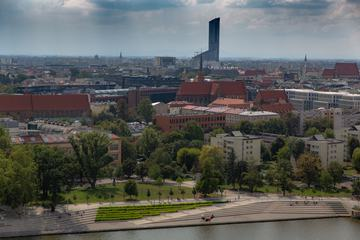 View of the Sky Tower in Wroclaw