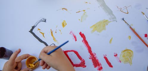Child Paint with Brush