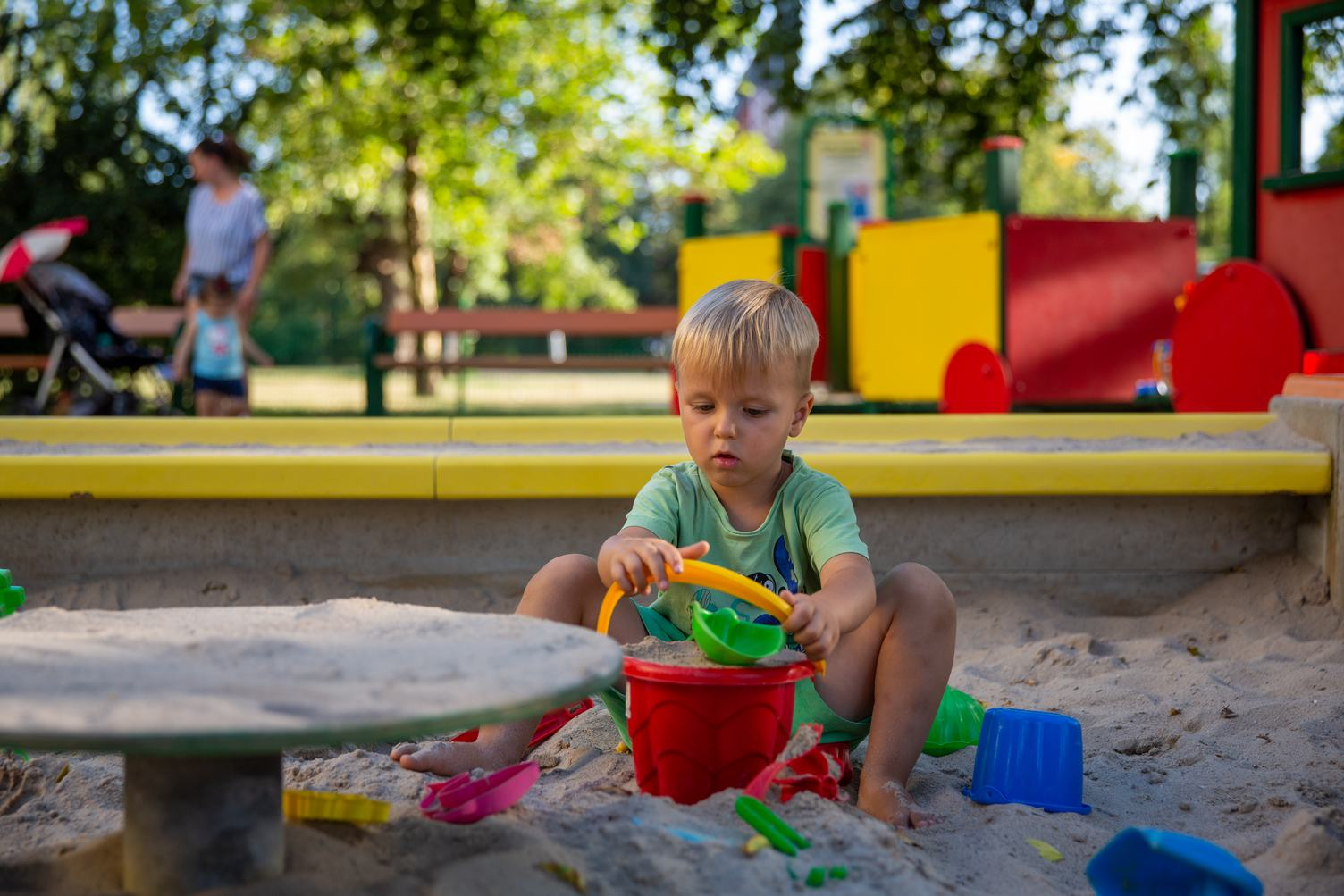 Cute Little Boy in the Sandbox
