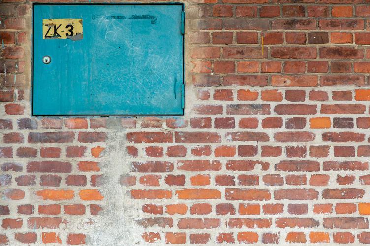 Brick Wall with Metal Doors
