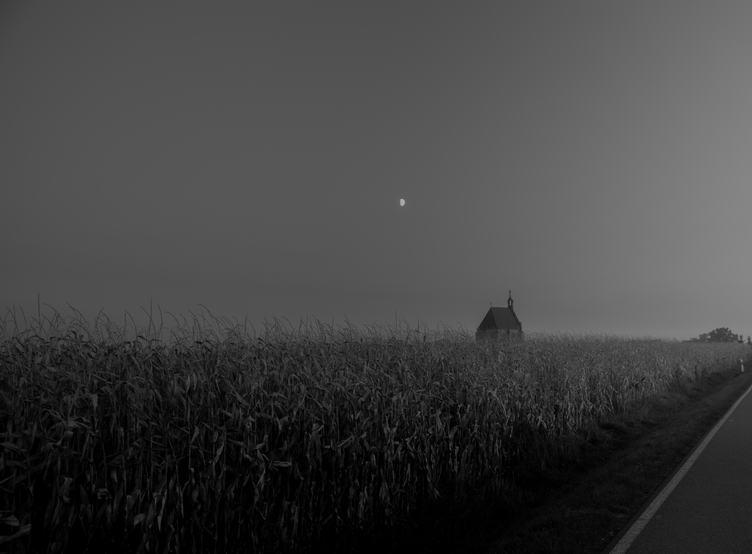 Dark Landscape, Little Church in a Cornfield