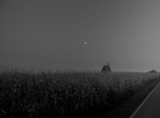 Dark Landscape, Little Church in a Cornfield