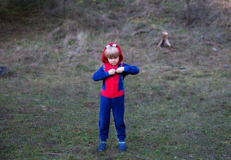 Boy in Spiderman Costume