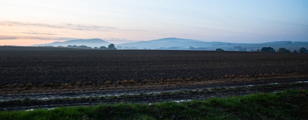 The Ślęża Massif in the Evening Time